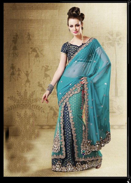 Designer Rama Shaded Net, Jacquard, Velvet Embroidered Saree SC 2514