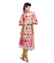 Cotton Yellow Salwar Kameez Churidar Fabric SC8131A