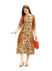 Designer Beige Cotton Printed Long Kurti Kurta Dress Style Size 42 XL SC1006