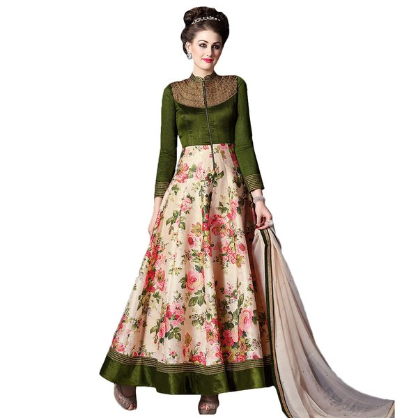 Designer Semi Stitched Indo Western Fusion Wear Long Dress Material V4706