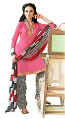 Dusty Pink Cotton Patiala Printed Dress Material