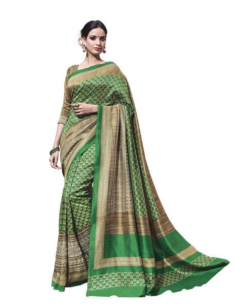 Green Printed Soft Embroidered Thappa Silk Saree SC30240