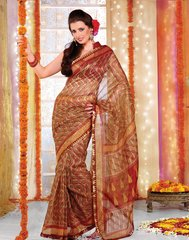 Supernet Cotton Lacer Printed yellowish Brown saree sari SC1111