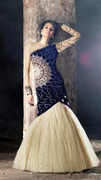 Heavy Wedding Velvet Blue Cream Georgette Lehenga Choli SC15006