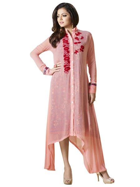 Designer Peach Chiffon Kurti Kurta Dress Size XL SCLT910