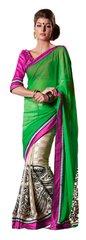 Green off white Embellished Chiffon Georgette saree SC8420B