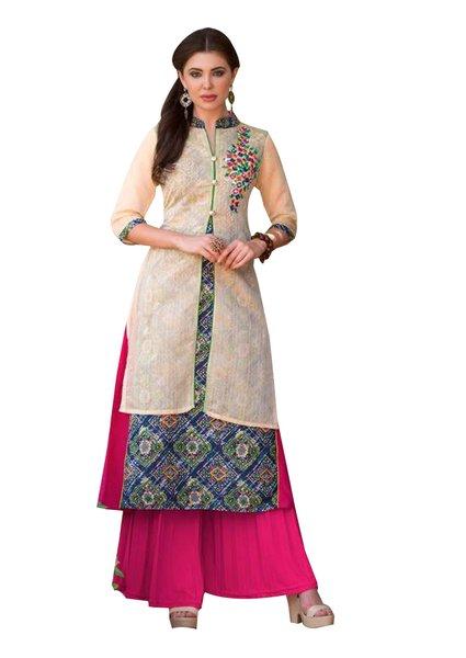 Designer Cream Rayon Cotton Kora Silk Layered Embroidered Long Kurta Dress Size XL SCKSD212