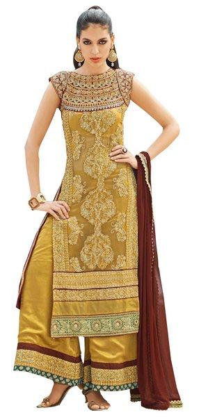 Designer Heavy Wedding Georgette Crepe Golden Beige Dress Material Soho11