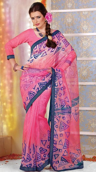 Supernet Cotton Lacer Printed Pink saree sari SC1120