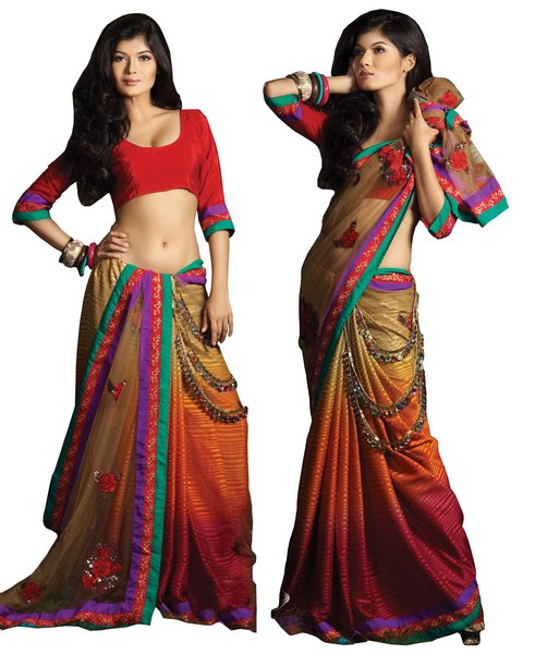 Designer Deep Fawn Georgette Net Palla Embroidered Saree SC1424
