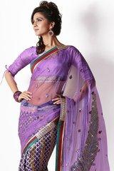 Purple Net Georgette Saree SCA25033