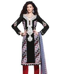 Cotton Black Blue Salwar Kameez Churidar Fabric SC8132C