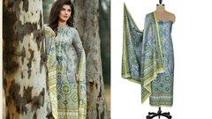 Designer Original Pakistani Sana Samia Gray Lawn Cotton Dress material SSL7B