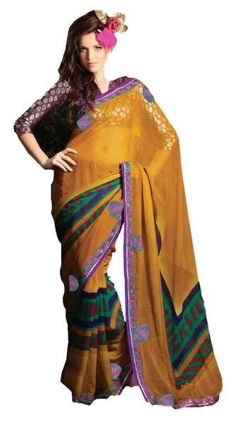 Designer Yellow Georgette Embellished Saree SC1406