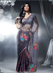 Designer Grey net and crepe Embroidered saree SC408