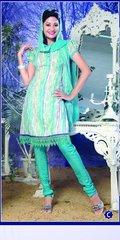 Spun Cotton Green Lacer Salwar Kameez Churidar Dress Meterial SC 1057C