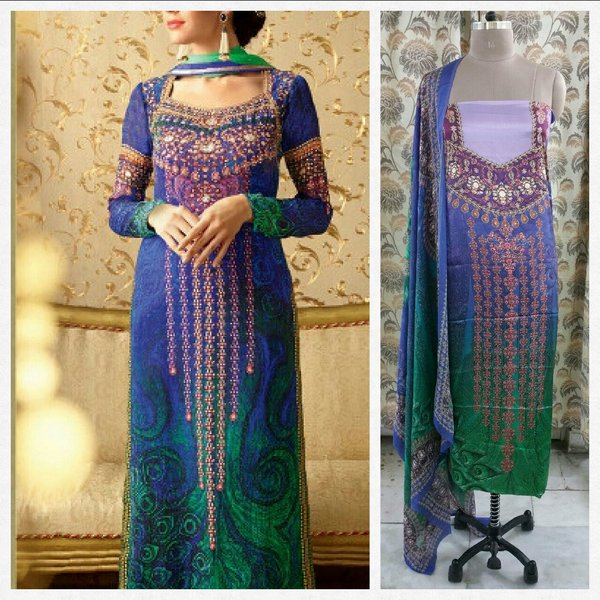 Designer Digital Printed Satin Kurta with Chiffon Dupatta Fabric Only Heer5702