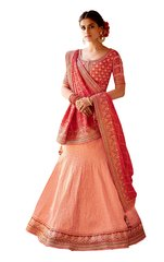 Red Peach Pure Silk Lehenga Choli Dupatta L505
