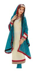 Designer Brasso Printed off white blue salwar kameez Material SC6383A