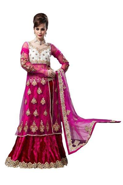 Deep Pink Net Lehenga Choli Dupatta Fabric Only LC185