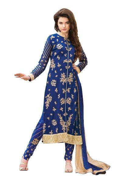 Blue Cream Georgette Semi Stitch Dress Material SC303