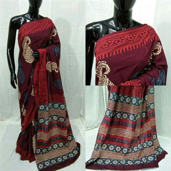 Exclusive Ajrakh Hand Block Printed Maroon Cotton Saree NV06