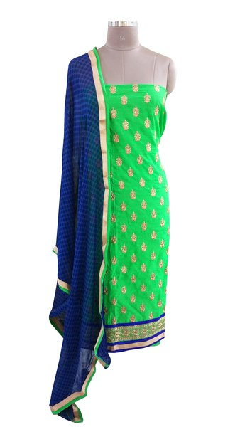 Designer Green Cotton Embroidered Shalwar Kameez Dress Material BSD14