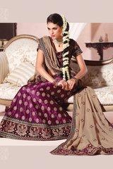 Purple Skin Raw Silk Georgette Lehenga Choli Dupatta Fabric Only LC308