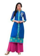 Designer Blue Rayon Cotton Kora Silk Layered Embroidered Long Kurta Dress Size XL SCKSD211