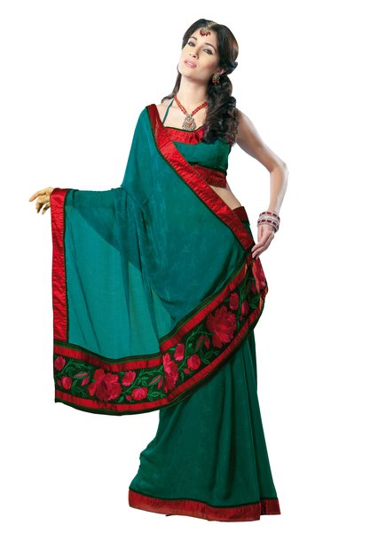 Georgette Crepe Embroidered Teal Green Saree SC3306A