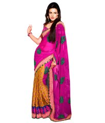 Pink Yellow Georgette Butta Embroidered Saree SCA3621