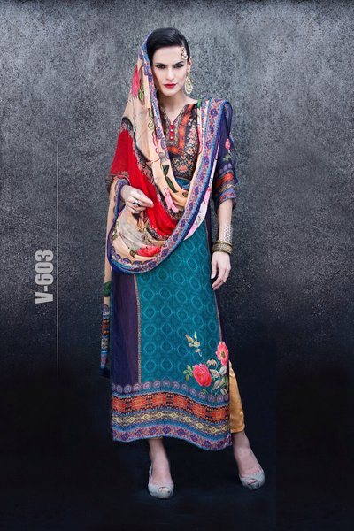 Designer Digital Printed Twill Cotton Kurta with Chiffon Dupatta Fabric Only V603