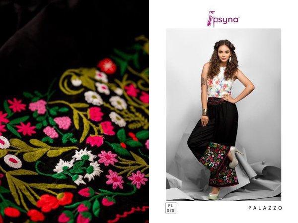 Designer Black Linen Cotton Embroidered Palazo Pants Free Size P704
