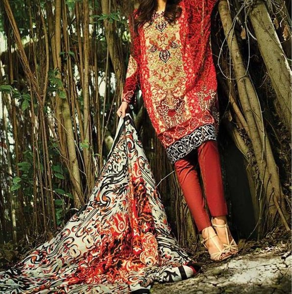 Designer Pakistani Printed Glazed Cotton Rust Pant Style Dress material F5006