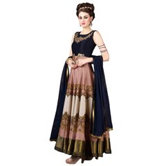 Designer Semi Stitched Indo Western Fusion Wear Long Dress Material V4707