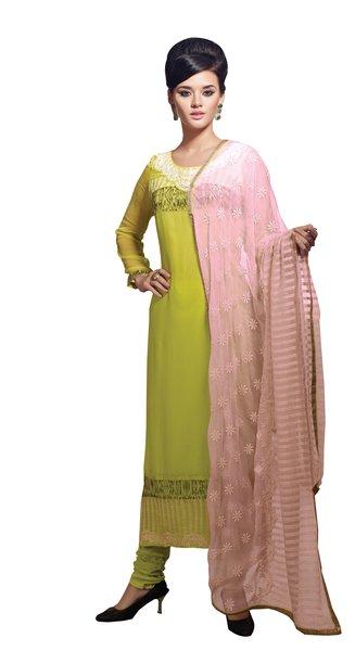 Designer Green Georgette Delicate embroidered Dress material SC5023