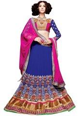 Blue Pink Georgette Lehenga Choli Dupatta Fabric Only SC5003