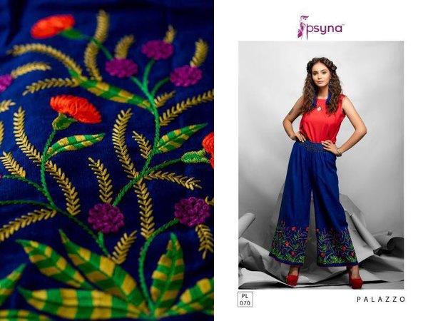 Designer Blue Linen Cotton Embroidered Palazo Pants Free Size P709