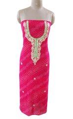 Jaipuri Bandhej Georgette Gotta Patti work Pink Kurti Kurta Fabric GP81