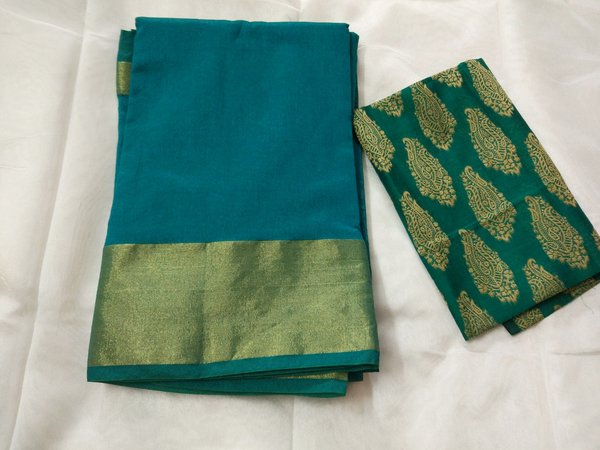 Exclusive Turquoise Chanderi Cotton Silk Saree Antique Zari Border CS45