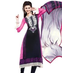 Cotton Black/Pink Salwar Kameez Churidar Fabric SC8146A