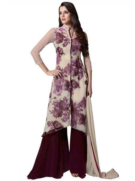 Designer Beige Georgette Embroidered Dress Material With Chiffon Dupatta M1122