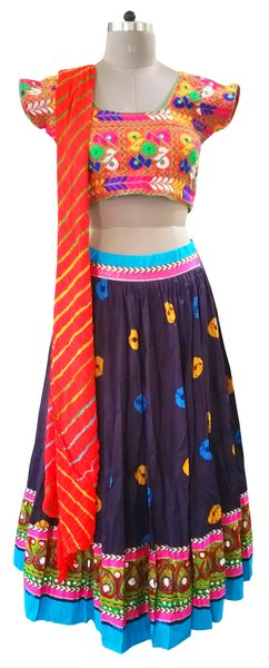 Garba Cotton Chaniya Choli 3 Piece Lehenga Kutchi Work GB06