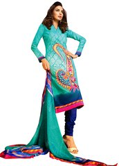 Lawn Cotton Embellished Dress Material with Chiffon Dupatta 9022
