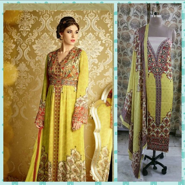 Designer Digital Printed Satin Kurta with Chiffon Dupatta Fabric Only Heer5709