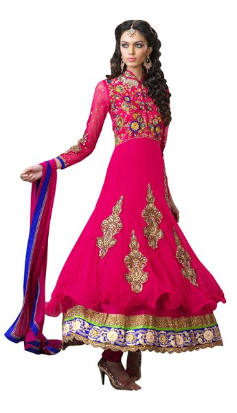 Anvi Creations Hot Pink Net and Cottton Silk Anarkali Dress Material