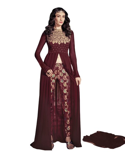 Designer Maroon Georgette Long Semi stitch Anarkali Partywear Dress materialSC4003