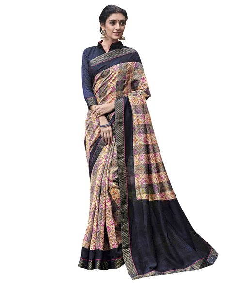 Designer Grey Blue Printed Lacer Border Art Silk Saree SC30327