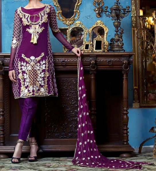 Designer Pakistani Replica Purple Georgette Dress Material Trouser Suit TM4007