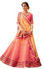 Pink Peach Pure Silk Lehenga Choli Dupatta L509